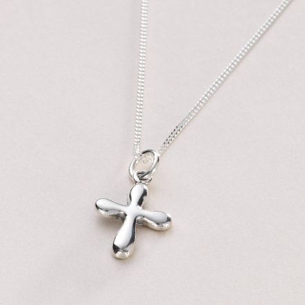 Rounded Cross Necklace with Optional Engraved Tag